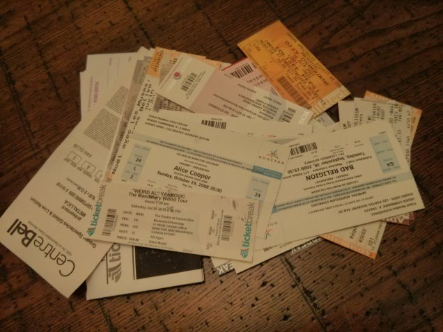 My collection of concert tickets