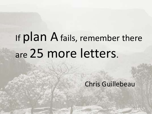If plan A fails, remember there are 25 more letters