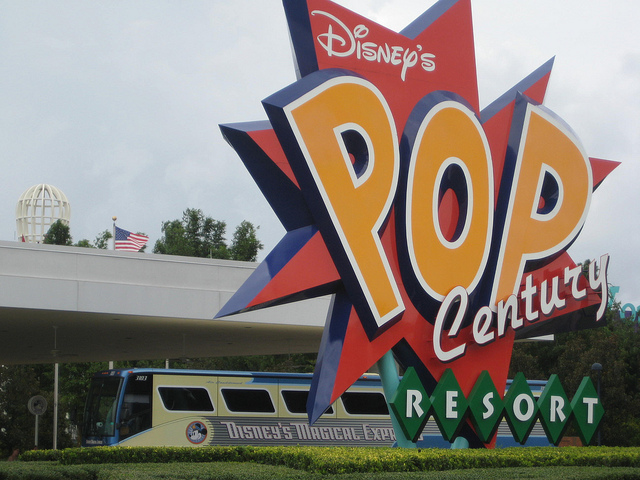 Disney's Magical Express bus outside of Pop Century
