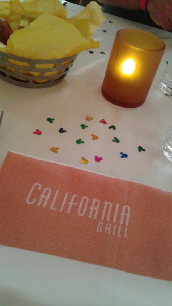 Table at California Grill with Mickey confetti