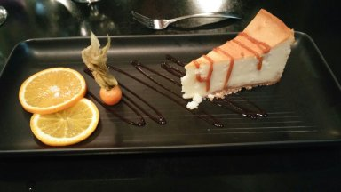 Delicious cheesecake at our hotel's restaurant